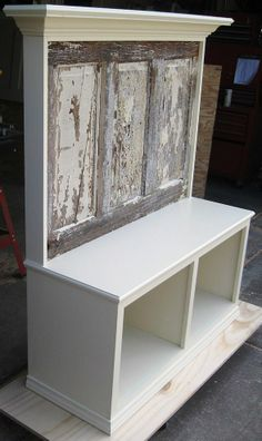 Bench seat made using a 90+ yr old door. Crown molding supported shel… :: Hometalk