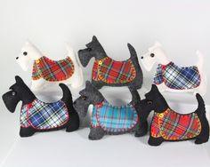 Scottie dog ornaments handmade in Ireland by Puffin Patchwork Dog Christmas Ornaments, Felt Ornaments, Christmas Dog, How To Make Ornaments, Christmas Ideas, Kilt Pattern, Felt Dogs, Red Bandana, Felt Applique