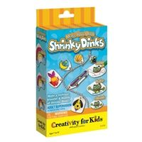 Make your own Shrinky Dinks® kit by Creativity for Kids®. Package includes 5 sheets of shrink film, colored pencils, ball chain, necklace, bracelet, jump rings and a hole punch.