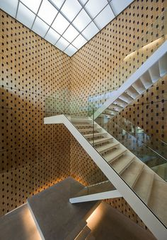 Netherlands Institute of Ecology in Wageningen, the Netherlands. Architect: Claus and Kaan Architects Interior Staircase, Stairs Architecture, Staircase Design, Amazing Architecture, Architecture Details, Interior Architecture, Stair Design, Stair Handrail, Take The Stairs