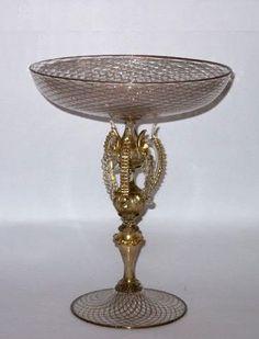 "Venetian ""alzata goblet in reticello of avventurine."