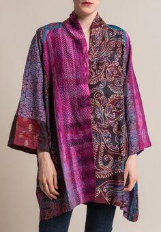 Mieko Mintz Vintage Silk A-Line Jacket in Purple Kimono Fashion, Boho Fashion, Fashion Design, Altered Couture, Kimono Fabric, Silk Jacket, Line Jackets, Sewing Clothes, Timeless Fashion