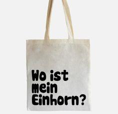 """Jutebeutel mit schwarzem Siebdruckaufdruck """"Wo ist mein Einhorn?"""""""