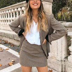 OFF Simplee Suits Blazer-Sets Office Women Ladies Plaid Fashion Button Streetwear Long-Sleeve Fall Blazer, Casual Blazer, Blazer Outfits, Skirt Outfits, Plaid Suit, Plaid Jacket, Plaid Blazer, Style Outfits, Grunge Outfits