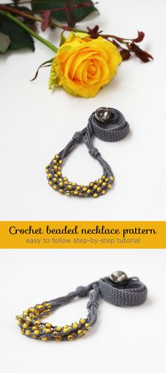 Crochet beaded necklace pattern Crochet jewelry pattern PDF Tutorial How to make a beaded crochet multi strand necklace DIY Easy crochet pattern for beginners