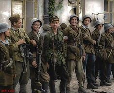 """""""Boasting a fine array of uniforms, headgear and weapons. Members of the Polish Resistance during the Warsaw Uprising, * As the Red Army approached Warsaw (July Sovietauthorities, promising aid, encouraged the Polish. Poland Ww2, Germany Ww2, Warsaw Uprising, Colorized Photos, Ww2 Photos, World Conflicts, Military Diorama, Red Army, Second World"""