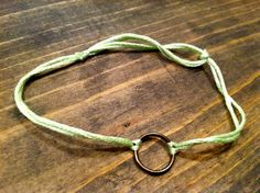 Metal Circle w/ Light Green Bracelet by nidification on Etsy