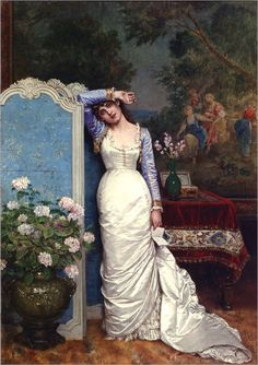 A Young Woman in an Interior (1881) by Auguste Toulmouche (french, 1829-1910)