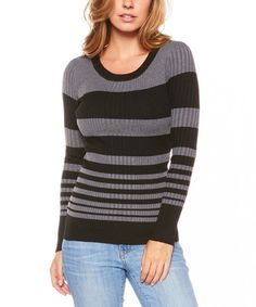 Loving this Black & Charcoal Stripe Ribbed Sweater on #zulily! #zulilyfinds