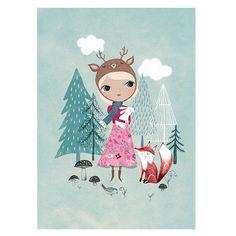 Deer Girl Print (Mint)- Petit Monkey