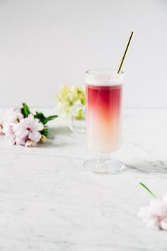 Red Wine Gin Sour - Gin, St. Germain, Simple Syrup, Lemon Juice, Egg White, Italian Red Wine