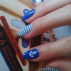 Nail patch art by Sephora :) anchor blue white nails