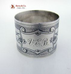 Engine Turned Coin Silver Napkin Ring 1870
