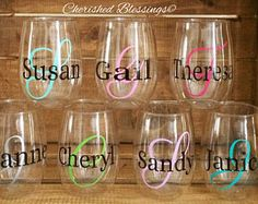 Stainless Steel Wine Glasses Personalized Vinyl Glitter Names Stainless Steel Wine Tumbler Bridesmaids Bachelorette Party Bridal Shower Gift Acrylic Wine Glasses, Plastic Wine Glasses, Diy Wine Glasses, Stemless Wine Glasses, Wine Tumblers, Vinyl Glasses, Wine Bottles, Monogram Wine Glasses, Personalized Wine Glasses