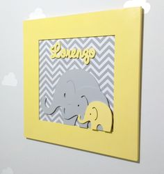 Baby Shower Yellow, Baby Boy Shower, Baby Shower Gifts, Baby Shawer, Baby Art, Baby Name Decorations, Wooden Name Letters, Baby Frame, Childrens Gifts
