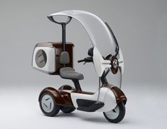 Honda's e-CANOPY - This electric scooter is just a concept vehicle now, but will probably become a production model soon. It's 50cc engine gets over 100 miles per gallon. I can't see it selling well here. Americans will choose power and speed over fuel economy every time.