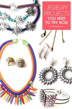 These projects are easy, inexpensive, and so cute—from a hand chain to a vintage brooch cocktail ring to a gold leaf necklace. Get crafty and try your hand at some of these projects today!