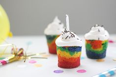 Make your own rainbow cakes!  Too much fun! #Cottontails