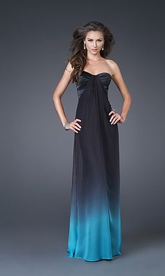 Floor length print dress by La Femme with strapless sweetheart neckline, beaded empire waist and open criss-cross back.