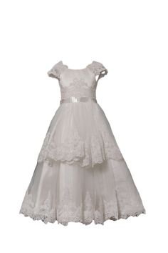 Cap Sleeves Tiered Lace Holy First Communion Dress Calf Length!