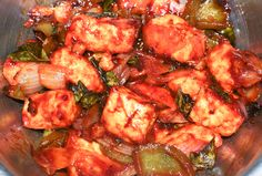 My first attempt to prepare- Chilli paneer (cottage cheese).
