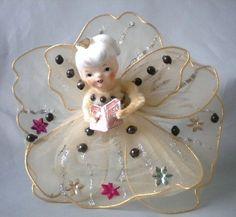 "Vintage Porcelain Head Angel Net Wings Christmas Ornament 6"" Tall | eBay"