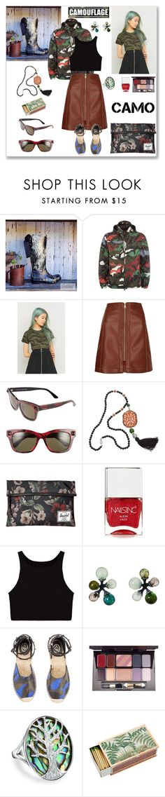 """""""Camouflage"""" by ludmyla-stoyan ❤ liked on Polyvore featuring Valentino, Urban Renewal, River Island, Kenneth Jay Lane, Herschel Supply Co., Nails Inc., Ash, Iman, Bling Jewelry and Shandell's"""