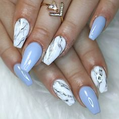 There are three kinds of fake nails which all come from the family of plastics. Acrylic nails are a liquid and powder mix. They are mixed in front of you and then they are brushed onto your nails and shaped. These nails are air dried. Ongles Baby Blue, Baby Blue Nails, Cute Nails, Pretty Nails, My Nails, Best Nails, Nails 2017, Marble Nail Designs, Nail Art Designs