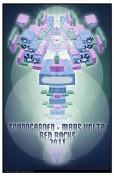 Original concert poster for Soundgarden and Mars Volta at Red Rocks in Morrison, CO in 2011.  11x17 card stock.