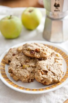 Recipe: Apple Pie Breakfast Cookies — But First, Breakfast! {need: 1 small apple, light brown sugar, lemon juice, whole-wheat pastry flour, APF, rolled oats (not quick-cooking), almond meal, ground nutmeg, coconut oil, maple syrup, egg, raisins, pecans, toasted and chopped}