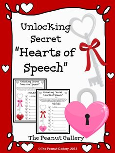 """FREE- Challenge your students to unlock the secret """"hearts of speech"""" (nouns and verbs)"""