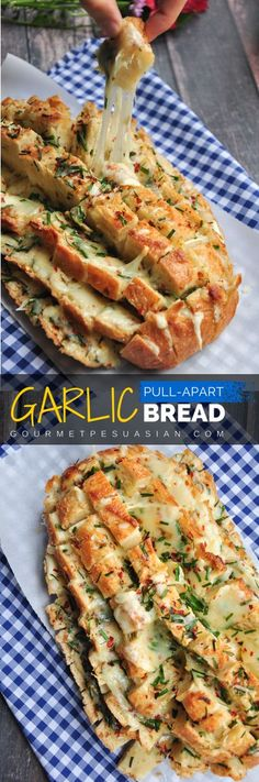 Looks impressive? It's really easy to make. 6 ingredients and 30 minutes are all you need for this cheesy garlic pull-apart bread. Serve it as a side, an appetizer, or a snack. Bring it to a potluck or tailgate party to knock everyone's socks off! #garlicbread #pullapartbread Easy Appetizers For Party, Christmas Party Appetizers, Birthday Party Appetizers, Bread Appetizers, Tailgate Appetizers, Christmas Potluck, Chrismas Party Food, Easy Vegetarian Appetizers, Vegetarian Finger Food