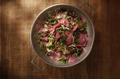 Spring Greens with Watermelon Radish, Fennel, Walnuts and Dill.