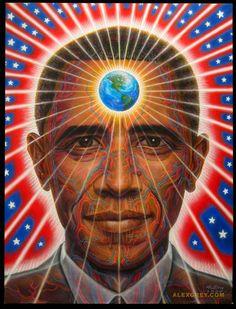 ı TRIPPY ® PSYCHEDELIC ı ∆ Obama Grey. By Alex Grey