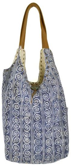 0a4f42d4e20d This soft and slouchy tote bag with small spiral design is made from batik  hemp and dyed in indigo