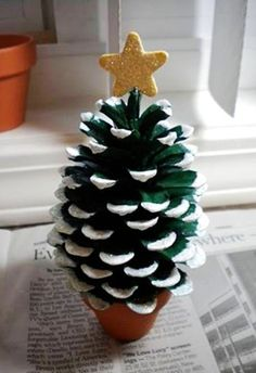 2014 Christmas Pinecones Crafts, Pine Cone Christmas Trees Crafts for 2014 Christmas