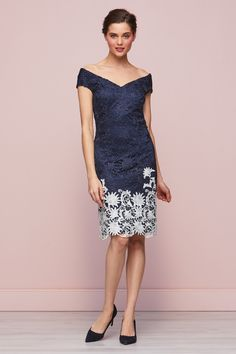 Anthea Contrast Lace Dress Navy White Floral Mother of the Bride Mother Of The Bride, Types Of Sleeves, Navy And White, Lace Dress, Contrast, Formal Dresses, Floral, Fabric, Pattern