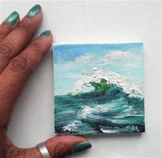 Mini Oil Painting Green Waves Seascape Impasto 3 x to do when bored crafts jar crafts crafts Oil Painting Frames, Small Canvas Paintings, Small Canvas Art, Oil Painting Texture, Mini Canvas Art, Mini Paintings, Small Art, Acrylic Paintings, Painting Inspiration