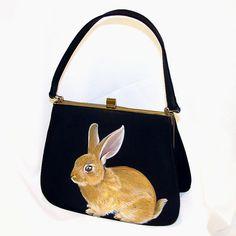 Gold Rabbit Purse - Handpainted OOAK VintageFrom NYhop $180