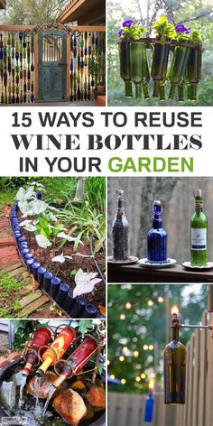 15 Awesome Ways to Reuse Wine Bottles in Your Garden - Garten Dekoration Wine Bottle Garden, Wine Bottle Trees, Wine Bottle Art, Bottle Wall, Wine Bottle Planter, Reuse Wine Bottles, Recycled Wine Bottles, Diy Projects With Wine Bottles, Garden Crafts