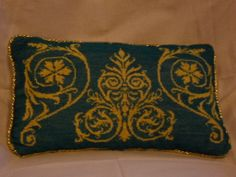 Blue and gold pillow