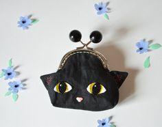 Porte-monnaie à tête de petit chat noir et par milicancrelat