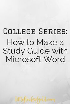 How to Make a Study Guide Using Microsoft Word college student tips #college…