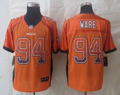 Men's NFL Denver Broncos #94 Ware Drift Fashion Orange