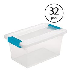Sterilite Corporation Sterilite Clear Tote with Latching Lid at Lowe's. The Sterilite Medium Clip Box is a great solution for storing and organizing smaller items in the home and office. The clear base and lid allow contents Plastic Storage Totes, Tote Storage, Paint Supplies, Craft Supplies, Under Bed Storage Containers, Under Bed Organization, Bed Organiser, Plastic Design, Tidy Up