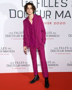 Thoughts on Timothee Chalamet's style? Japanese Suit, Gq, Magenta, Purple Suits, Wearing Purple, Timmy T, Silk Crepe, Red Carpet Looks, Red Carpet Fashion