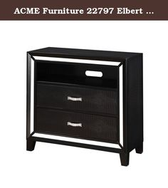 ACME Furniture 22797 Elbert TV Console, Black Crocodile PU. The Elbert TV console boasts mirror trim edge. It features exquisite contemporary design. The surfaces are covered with black crocodile PU. Tapered feet complete the overall look. Excellent craftsmanship with a strong and sturdy construction. It is uniquely designed to be added to your decorative collection. Its simple modern design is sure to enliven your home decor!.