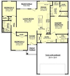 Floor plan I would want to enlarge had small bedrooms like this and if put a queen bed in secondary bedroom that size no room for dressers etc. also want master a bit larger. Would make back porch part of great room