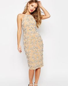 ASOS | ASOS SALON Drape Back Beaded Floral Midi Dress at ASOS