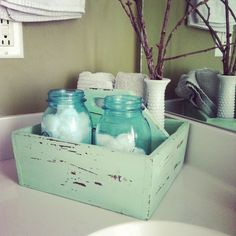 Keep on Rowland: Little Things. Use to store Qtips and cotton balls.